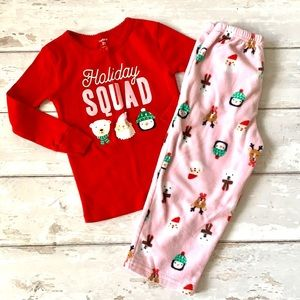 Girls 2T Christmas Pajamas Carters Holiday Squad